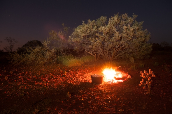 Authentic bush camp with camp oven